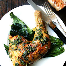 Roasted Quartered Chicken with Herb Sauce