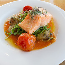 Poached Salmon with Anchovy Dressing