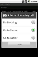 Screenshot of On Call End (not call log)