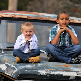 Sittin' by Roy Walter - Babies & Children Child Portraits ( truck, boys, children, candid, portrait )