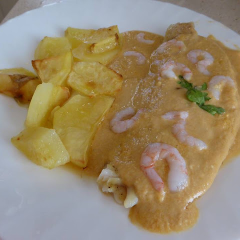 Haddock in a Tomato, Brandy and Cream Sauce.