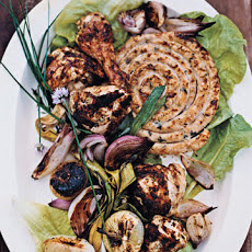 Grilled Mustard-Garlic Chicken with Sausage