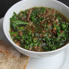 Kale, Lentil and Bacon Soup