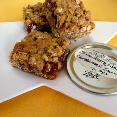 Reese's Peanut Butter Cup Oatmeal Bars and Oatmeal Strawberry Jam Bars in one pan