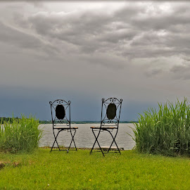 Silence on the lake by Gabriel Motica - Artistic Objects Furniture ( sky, grass, chairs, chiemsee, silence, lake )