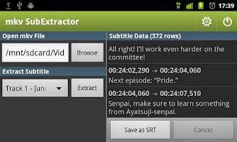 Screenshot of mkv SubExtractor