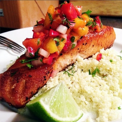 Crispy Salmon with Cauliflower Rice and Grilled Peach-Strawberry Salsa