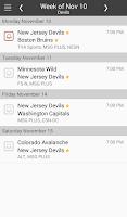 Screenshot of NHL Hockey Schedule & Scores