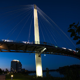 Omaha bridge at night by Jonathan Abrams - Buildings & Architecture Bridges & Suspended Structures ( omaha, cables, suspension, night, bridge, city park, city, river )