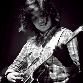 Young Strings by Erico Claudio - People Musicians & Entertainers ( school, black and white, teenager, guitar, philippines )