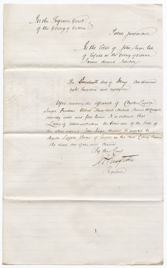The 1886 decision by the Probate Office to hand over the administration of the estate to Charles Singer, Lucy's son, following her death.