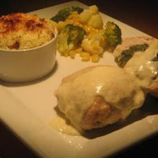 Spinach and Boursin Stuffed Chicken With Alfredo Sauce
