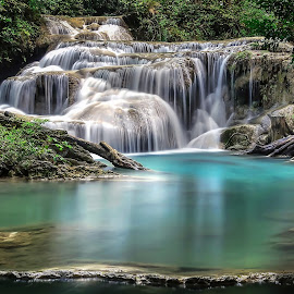 Mystical Paradise by Shannon Rogers - Landscapes Waterscapes ( erawan falls, shannon rogers photography, water, shannon rogers, peaceful, green, waterfall, thailand, image, beauty, landscape, photography, erawan waterfall, nature, blue, jungle, award winning, flowing water, asia,  )