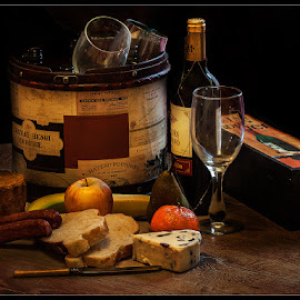 by Stephen Hooton - Food & Drink Meats & Cheeses ( wine, still  life, fruit, bread, cheese, knife )