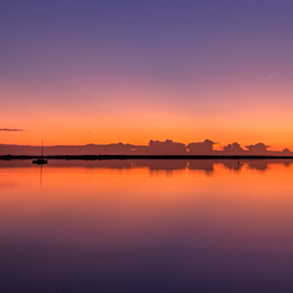 placid purple by David Ubach - Landscapes Waterscapes ( calm, water, lake, sunrise, boat )