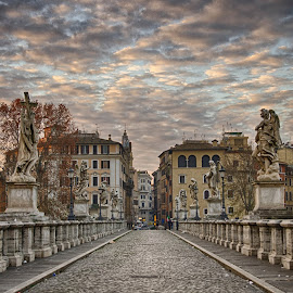 Ponte Sant Angelo by Darius Chua Xian - Buildings & Architecture Bridges & Suspended Structures ( dawn, cloudy, ponte sant angelo, sunrise, bridge )