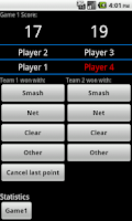Screenshot of Badminton score