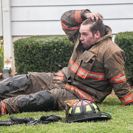 Exhausted by Melanie Ayers Wells-Photography - News & Events Disasters ( larue county fire dept, valley creek fire dept, magnolia fire dept, house fire, buffalo fire dept, hodgenville kentucky, melanie wells photography )