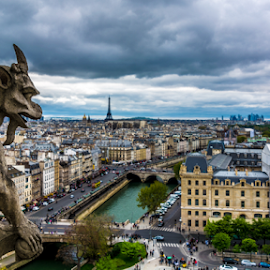 We're Watching You by Ofer Keidar - Landscapes Travel ( clouds, notre dame, skys, 2014, d5200, eiffel, notre dame paris, paris, eiffel tower, tour eiffel, sky, ofer keidar, gargoyle, france, cloudporn, gargoyles, nikon )