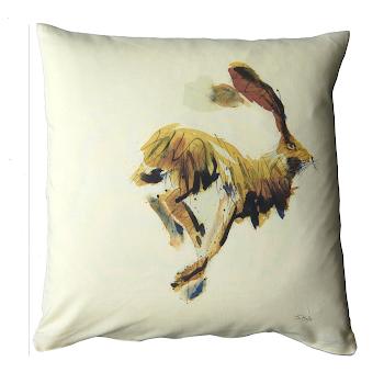 Hare rabbit cushion rustic English shabby chic