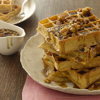 Pumpkin Waffles With Maple-Walnut Syrup