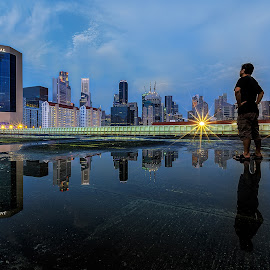 Perennial by Ong Chee Chung - City,  Street & Park  Skylines ( water, reflection, cbd, skyline, night, singapore )