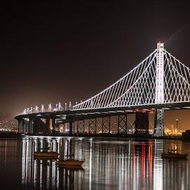 Bay Bridge San Fran by Terrie Winkle - Buildings & Architecture Bridges & Suspended Structures ( water, boats, night, bridge, san francisco )