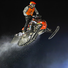 Big Air by Kenton Knutson - Sports & Fitness Motorsports ( snocross, winter, snowmobile, snow, night, snocross racing, snow dust )