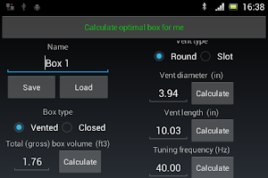 Screenshot of Woofer Box Calculator