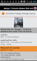 Screenshot of Art Center Library Mobile