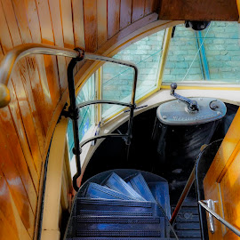 Tram Stairs by Christine May - Transportation Trains ( stairs, train, tram, transportation, curving stairs, photography )