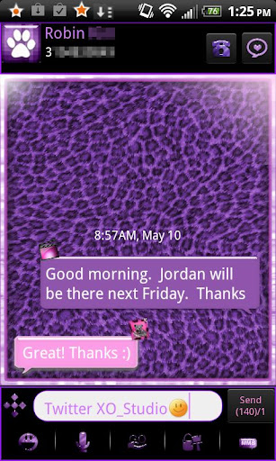 GO SMS - Purple LEOPARD Theme
