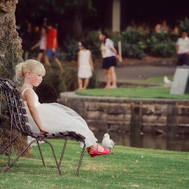 Time Out ! by Alan Evans - Wedding Other ( wedding photography, melbourne wedding photographer, park, melbourne, grass, aj photography, seagulls, pink shoes, landscape, flowergirl, melbourne botanic gardens, wedding, park bench, bench seat, trees, garden )