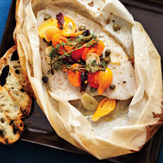 Sole en Papillote with Tomatoes and Olives
