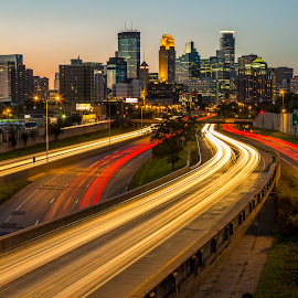 Light Trails to Minneapolis by Bill Kuhn - City,  Street & Park  Skylines ( skyline, i-35, minneapolis, light trails, long exposure, cityscape, freeway, downtown )