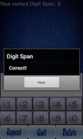 Screenshot of Digit Span