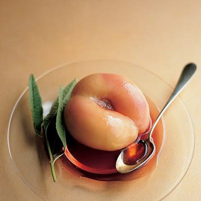 Chilled White Peaches Poached in Rose Syrup