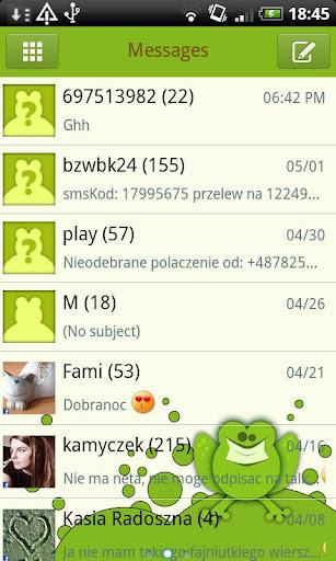 GO SMS Frog White Theme Free