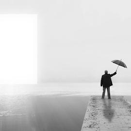 I by Pedro Branco - Digital Art People ( water, umbrella, way, surreal, man )