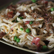 Herb Spätzle with Speck and Peas