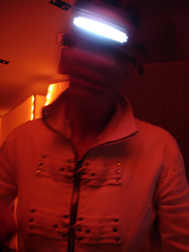 <p> Jamie with wireless head camera and kinectic LED sculpture by Diana Burgoyne; from &#39;Grace - A New Media Duet&#39;.</p>