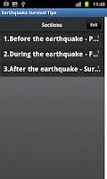 Screenshot of Earthquake Survival Tips