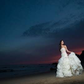 Once in a while right in the middle of an ordinary life, Love gives us a Fairytale  by Yansen Setiawan - Wedding Bride ( wedding day, sunset, weddings, wedding, beautiful, wedding dress, bride, trash the dress )