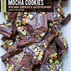 Mocha Cookies with Dark Chocolate and Pistachios (gluten free)