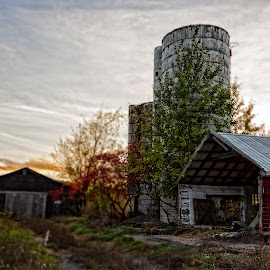 Sunset on the farm by Diane Clontz - Novices Only Landscapes ( copake, vacation, fall colors, barn, fall, newyork, silo )