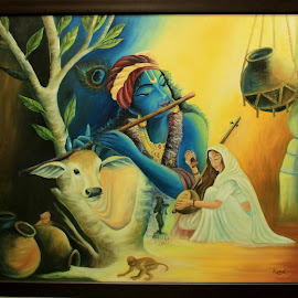 Radhe-krishna by Himanshu Gupta - Painting All Painting