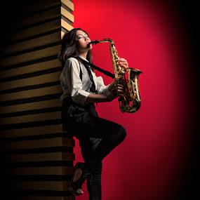 Soul of Sax by Irwan Kairuman - People Fashion ( playing, fashion, model, saxophone )