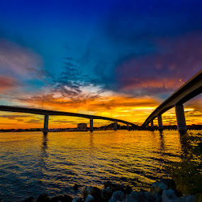MERGING INTO SUNSET by RomanDA Photography - Landscapes Sunsets & Sunrises ( water, november, sunset, daytona, beach, bridge, refelection )