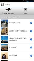 Screenshot of sentres Südtirol Reiseführer