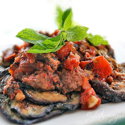 Eggplant with Crumbled Beef, Tomatoes and Mint